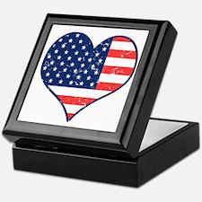 Patriotic Heart with Flag Keepsake Box