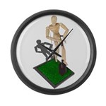 Digging Shovel in Grass Large Wall Clock