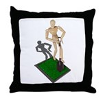Digging Shovel in Grass Throw Pillow