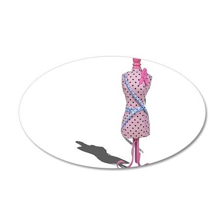 Dress Form Measuring Tape 22x14 Oval Wall Peel