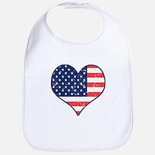 Patriotic Heart with Flag Bib