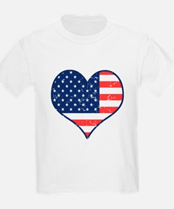 Patriotic Heart with Flag Kids T-Shirt