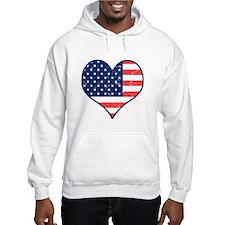 Patriotic Heart with Flag Jumper Hoody