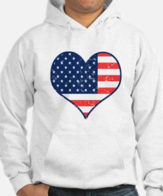 Patriotic Heart with Flag Jumper Hoody