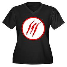 Claw Marks Women's Plus Size V-Neck Dark T-Shirt