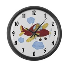 Airplane LARGE Wall Clock - Dinosaur