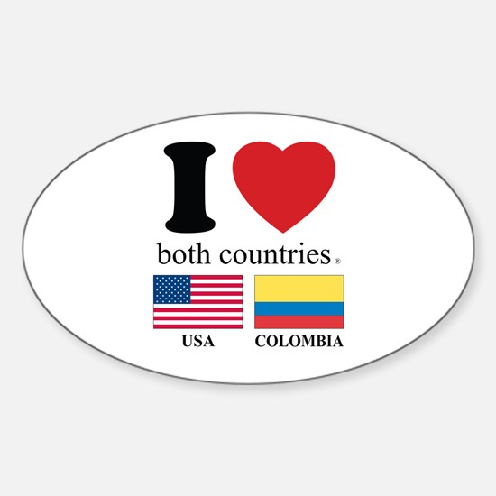 USA-COLOMBIA Sticker (Oval)