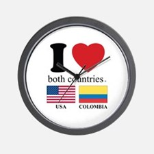 USA-COLOMBIA Wall Clock