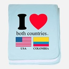 USA-COLOMBIA baby blanket