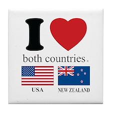 USA-NEW ZEALAND Tile Coaster