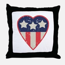 Simple Patriotic Heart Throw Pillow
