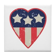 Simple Patriotic Heart Tile Coaster