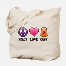 Peace,Love,Cups Tote Bag (on both sides)