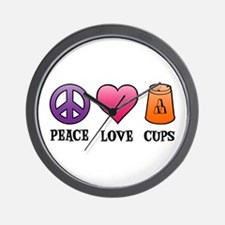 Peace,Love,Cups Wall Clock