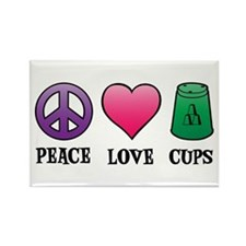 Peace,Love,Cups Rectangle Magnet