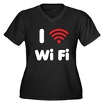 I Love Wi Fi Women's Plus Size V-Neck Dark T-Shirt