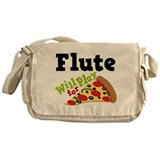 Funny pizza flute Messenger Bags & Laptop Bags