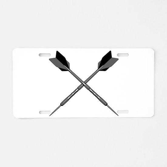 Crossed Darts Aluminum License Plate