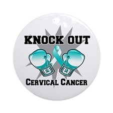 Knock Out Cervical Cancer Ornament (Round)