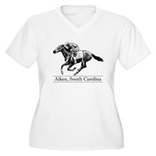 Women's Plus Size V-Neck Tee: Equestrian Art