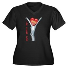Zipper Club Women's Plus Size V-Neck Dark T-Shirt