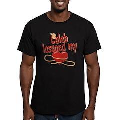 Caleb Lassoed My Heart Men's Fitted T-Shirt (dark)