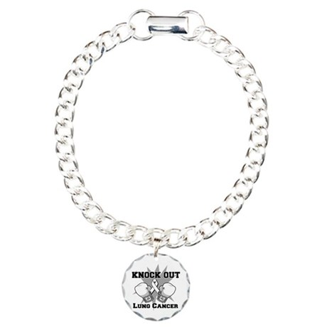 Knock Out Lung Cancer Charm Bracelet, One Charm