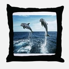 Dolphins In The Ocean Throw Pillow