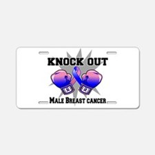 Knock Male Breast Cancer Aluminum License Plate