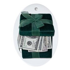 Gift Box Full of Money Ornament (Oval)