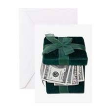 Gift Box Full of Money Greeting Card