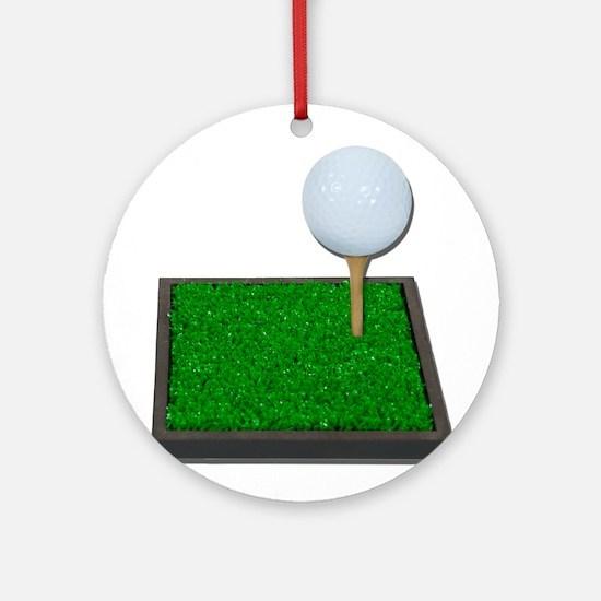 Golf Ball on Tee on Grass Ornament (Round)