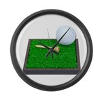 Golf Ball Tee Laying on Grass Large Wall Clock