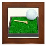 Golf Ball Tee Laying on Grass Framed Tile