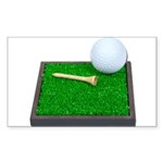 Golf Ball Tee Laying on Grass Sticker (Rectangle 1