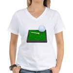 Golf Ball Tee Laying on Grass Women's V-Neck T-Shi