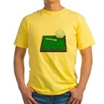 Golf Ball Tee Laying on Grass Yellow T-Shirt