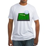 Golf Ball Tee Laying on Grass Fitted T-Shirt