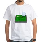 Golf Ball Tee Laying on Grass White T-Shirt