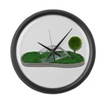 Green Footprint Large Wall Clock