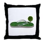 Green Footprint Throw Pillow
