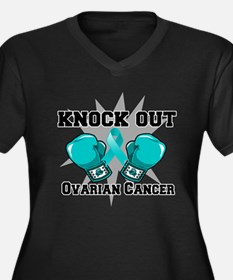 Knock Out Ovarian Cancer Women's Plus Size V-Neck