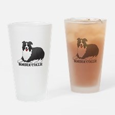 Cartoon Border Collie Drinking Glass