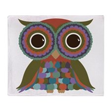Little Colorful Owl Throw Blanket