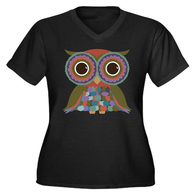 Little Colorful Owl Women's Plus Size V-Neck Dark T-Shirt ...