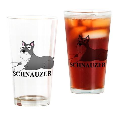 Cartoon Schnauzer Drinking Glass