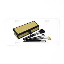 Makeup Brushes Wicker Box Aluminum License Plate