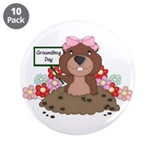 """Groundhog Girl 3.5"""" Button (10 pack)"""
