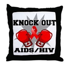 Knock Out AIDS Throw Pillow