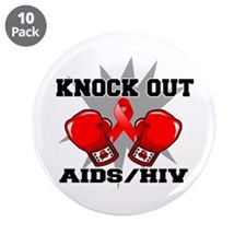 "Knock Out AIDS 3.5"" Button (10 pack)"